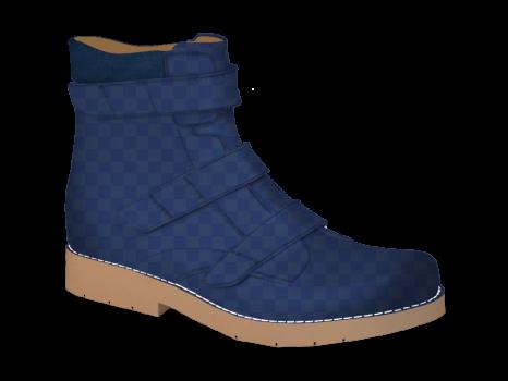 S1506 Navy Squares Patent Velcro (Alternative)