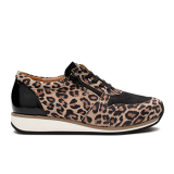 Y1872  Black Leopard Leather Combi